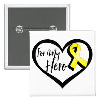 Yellow Awareness Ribbon For My Hero 15 Cm Square Badge