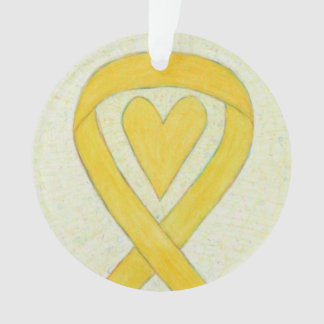 Yellow Awareness Ribbon Heart Christmas Ornaments