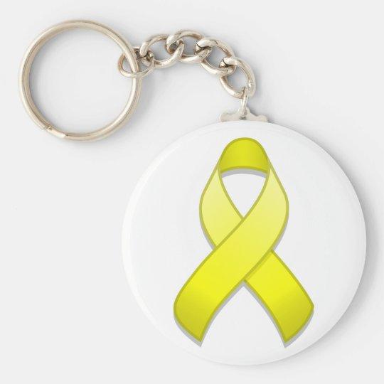 Yellow Awareness Ribbon Keychain