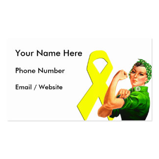 Yellow Awareness Ribbon Rosie the Riveter Business Cards
