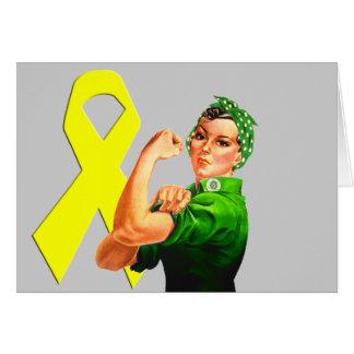 Yellow Awareness Ribbon Rosie the Riveter Greeting Card