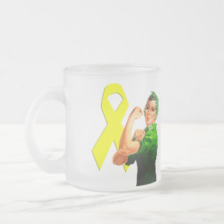 Yellow Awareness Ribbon Rosie the Riveter Coffee Mug