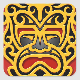 Yellow Aztec Mask Square Sticker