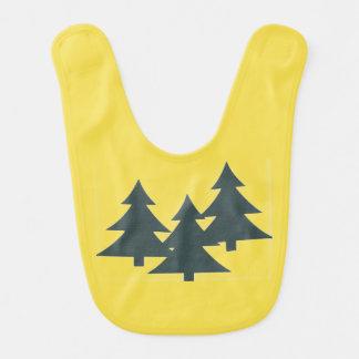 Yellow Baby Bib with Pine Trees
