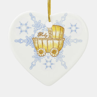 Yellow Baby Buggy SnowFlake ceramic ornament