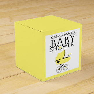Yellow Baby Carriage Baby Shower Favour Box