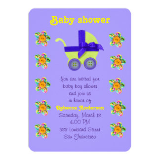 Yellow baby carriage, Pink, purple sewn flowers Card