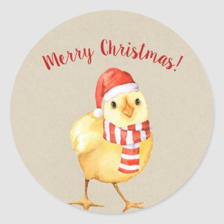Yellow Baby Chick Christmas Country Holiday Custom Classic Round Sticker