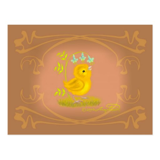 Yellow Baby Chick with Bluebell Flowers Postcard