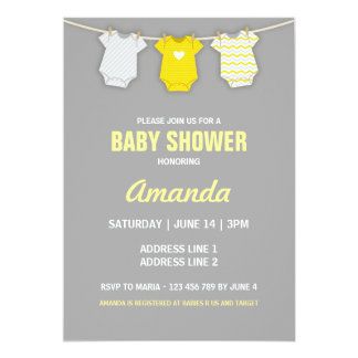 Yellow Baby Shower Invitation, Clothesline Theme Card