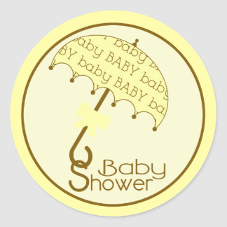 Yellow Baby Shower Umbrella Sticker