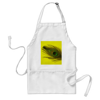 Yellow Background Peacock Feather Standard Apron