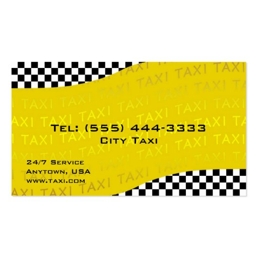 Yellow Background Taxi Service Business Card