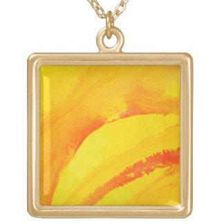 yellow background. watercolor on paper gold plated necklace