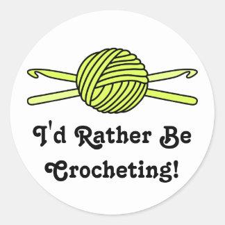 Yellow Ball of Yarn & Crochet Hooks Round Sticker