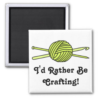 Yellow Ball of Yarn (Knit & Crochet) Square Magnet