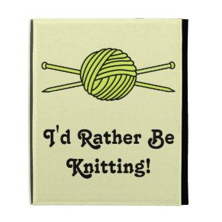 Yellow Ball of Yarn & Knitting Needles iPad Folio Case