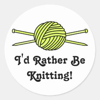Yellow Ball of Yarn & Knitting Needles Round Sticker