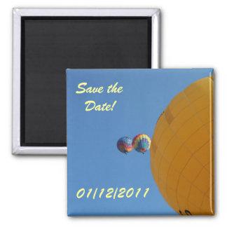Yellow Balloon Soaring! Square Magnet