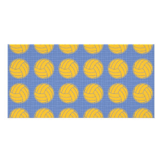 Yellow balls on blue background personalised photo card