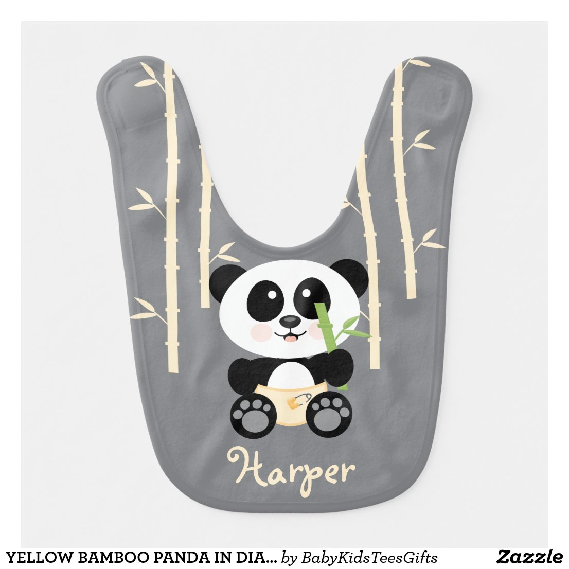 YELLOW BAMBOO PANDA IN DIAPERS BIB