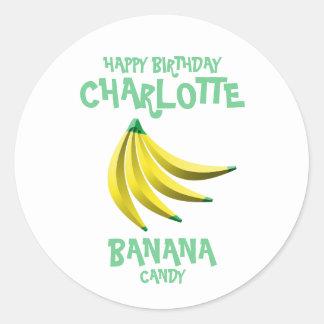 Yellow Banana Candy Happy Birthday Classic Round Sticker