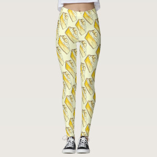 Yellow Banana Cream Creme Pie Slice Foodie Dessert Leggings
