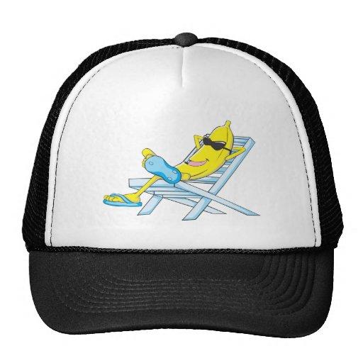 Yellow Banana Relax Sit on Beach Lounge Chair Mesh Hats