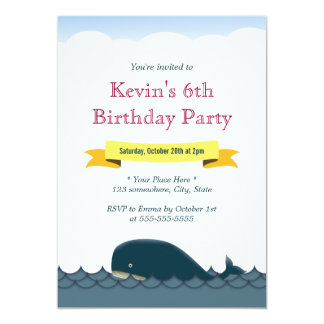 Yellow Banner Blue Whale Birthday Invitations