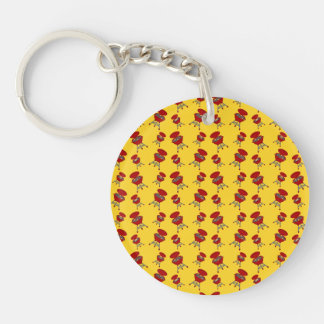yellow barbeque pattern Double-Sided round acrylic key ring
