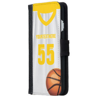 Yellow BasketBall Dress Name Number iPhone 6 Wallet Case