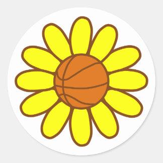 Yellow Basketball Girl Classic Round Sticker