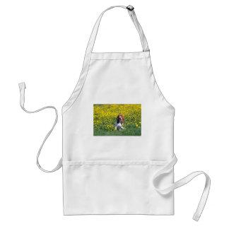 yellow Basset hound flowers Aprons