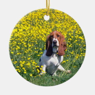 yellow Basset hound flowers Round Ceramic Decoration
