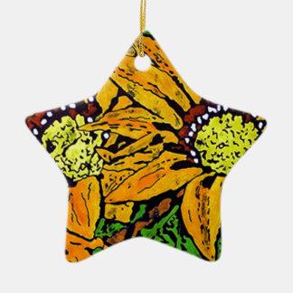 YELLOW-BATIK-FLOWERSa.jpg Ceramic Star Decoration