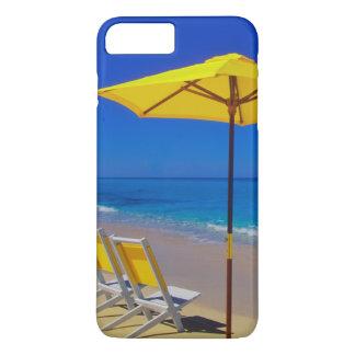 Yellow beach umbrella and chairs on pristine iPhone 8 plus/7 plus case