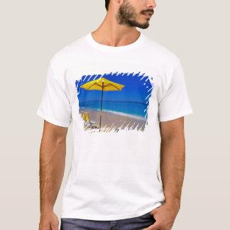 Yellow beach umbrella and chairs on pristine T-Shirt