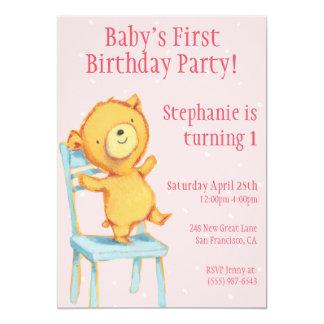 Yellow Bear Birthday Card