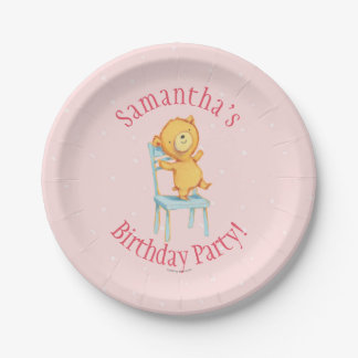 Yellow Bear Dances and Plays on Chair 7 Inch Paper Plate