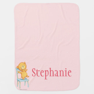Yellow Bear Dances and Plays on Chair Baby Blanket