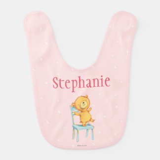 Yellow Bear Dances and Plays on Chair Bib