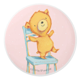 Yellow Bear Dances and Plays on Chair Ceramic Knob