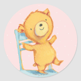 Yellow Bear Dances and Plays on Chair Classic Round Sticker