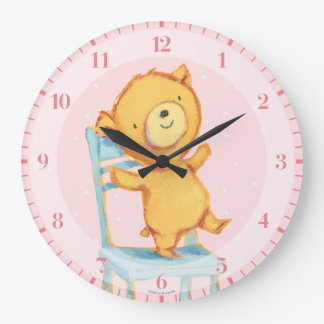 Yellow Bear Dances and Plays on Chair Large Clock