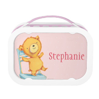Yellow Bear Dances and Plays on Chair Lunchboxes