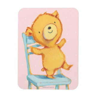 Yellow Bear Dances and Plays on Chair Magnet