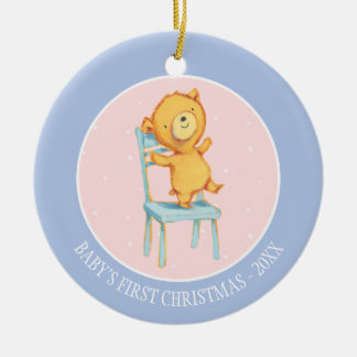 Yellow Bear Dances and Plays on Chair Round Ceramic Decoration