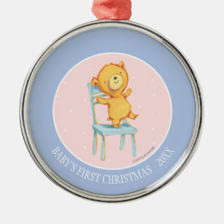 Yellow Bear Dances and Plays on Chair Silver-Colored Round Decoration