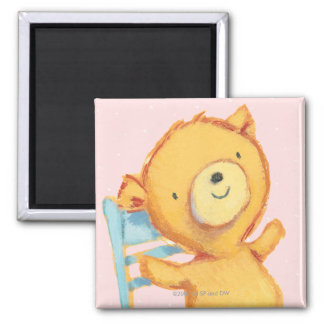 Yellow Bear Dances and Plays on Chair Square Magnet