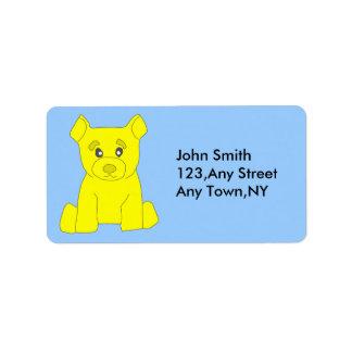 Yellow Bear Label Template Address Label